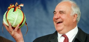 FILE PHOTO OF GERMAN CHANCELLOR HELMUT KOHL HOLDING A CABBAGE.
